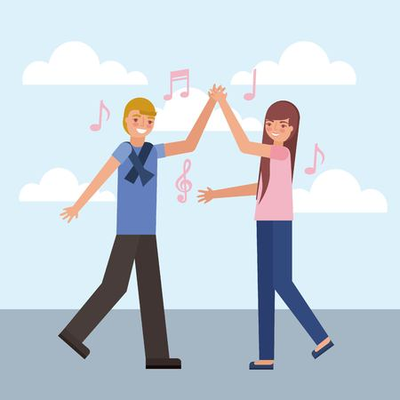 man and woman dancing music vector illustration 向量圖像