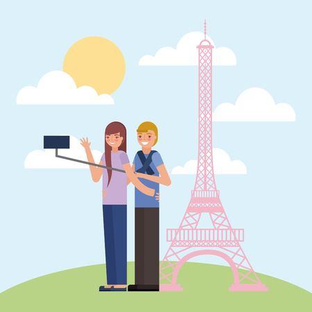 couple making selfie eiffel tower background vector illustration