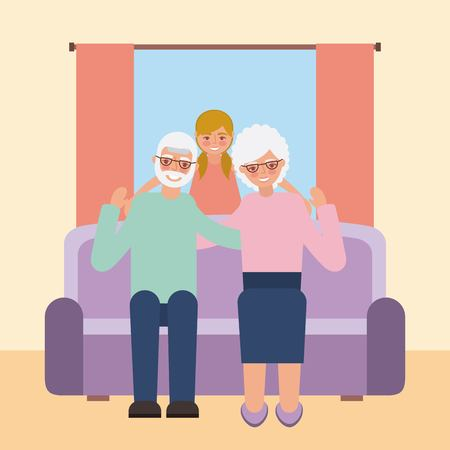 grandparents day happy old couple sitting couch with nephew vector illustration Ilustração