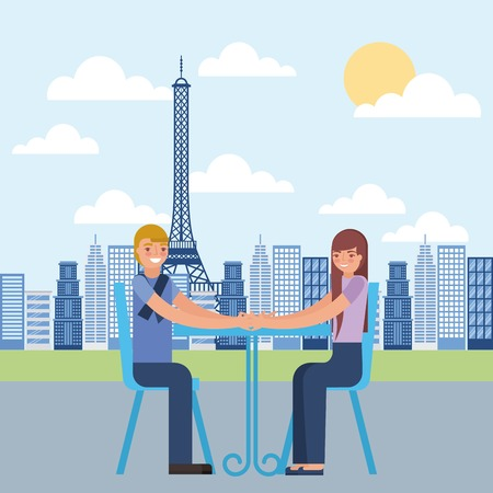 young couple sitting on chair with table in paris france vector illustration Illustration
