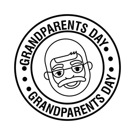 grandparents day cute sticker sign face old grandfather vector illustration