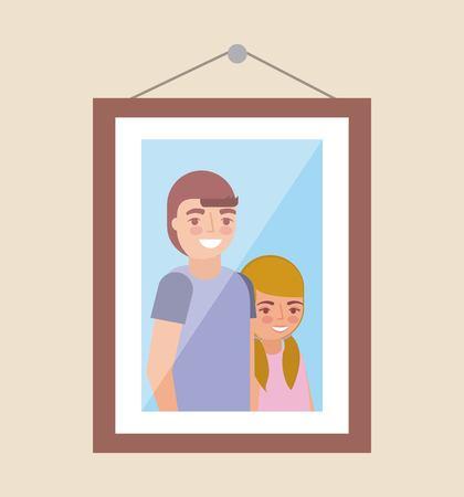 picture of grandchildrens smiling in the wall vector illustration Ilustração
