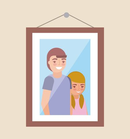 picture of grandchildrens smiling in the wall vector illustration Illustration