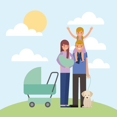 parents baby pram and little girl dog vector illustration Illustration