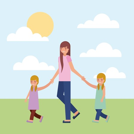 mother holding hand her daughters twins vector illustration
