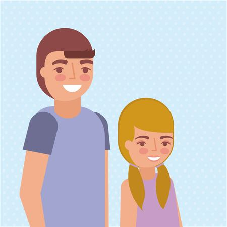grandchildrens smiling stand colors background vector illustration Ilustração