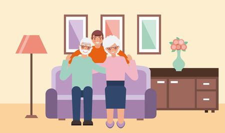 grandparents day living room old couple sitting couch nephew vector illustration