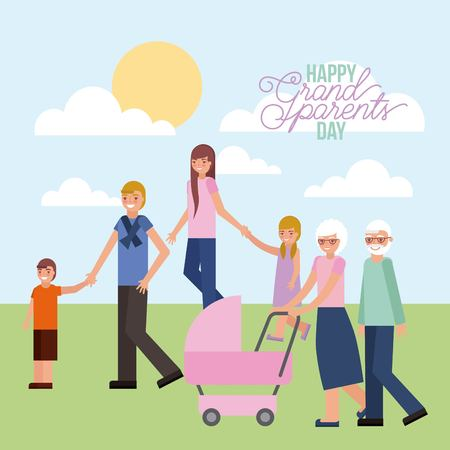 grandparents with pram baby and parents kids in the park vector illustration