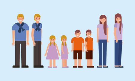 happy grandchildrens stand height colors vector illustration Ilustração