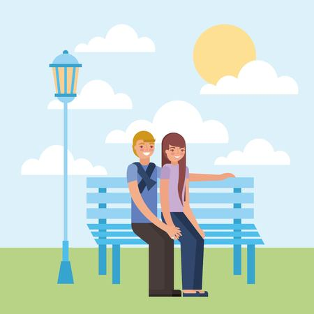 young couple sitting on bench vector illustration