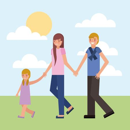 dad mom and daughter holding hands walking vector illustration