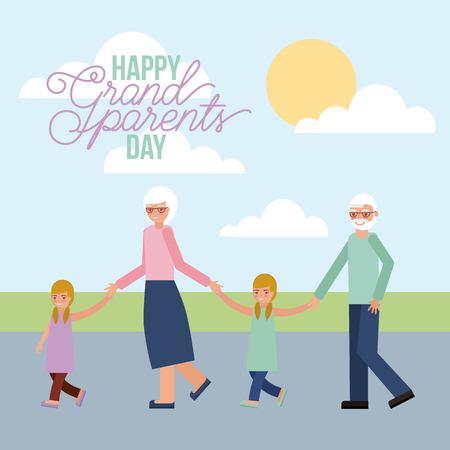 grandparents walking with grandson and granddaughter vector illustration