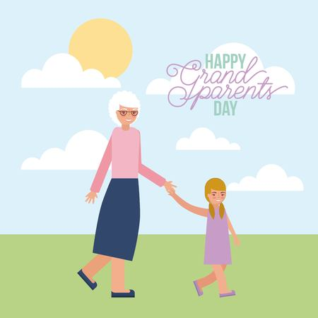 grandmother holding hand granddaughter walking vector illustration