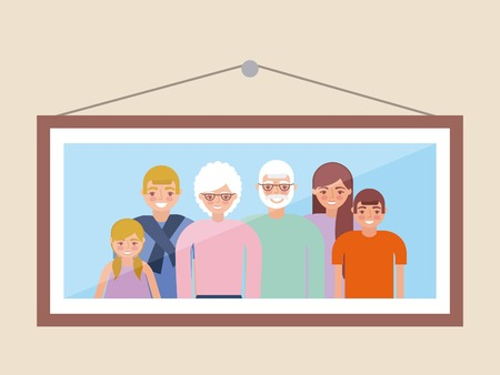 grandparents day picture in the wall happy family embraced love vector illustration