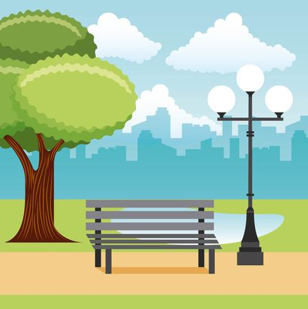 bench and lamppost park tree lake city vector illustration