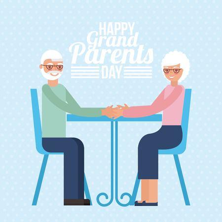 grandparents day old couple sitting smiling sign blue background vector illustration