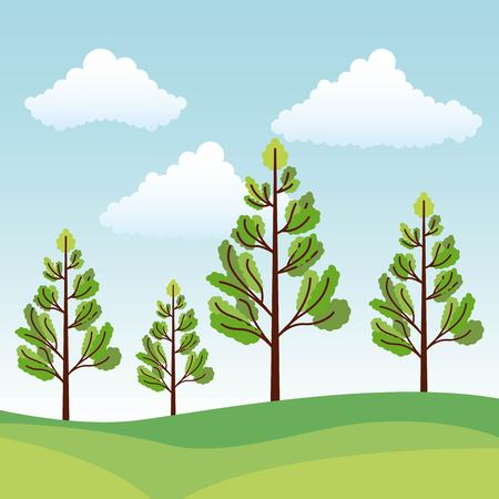 green nature trees forest foliage vector illustration