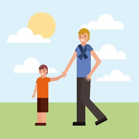 father holding hand her son walking together vector illustration Stock Photo