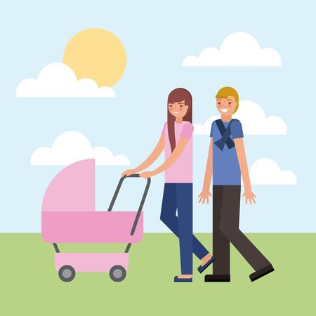 couple parents with pram baby outdoors vector illustration