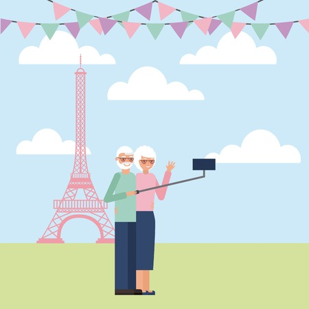 grandparents day colors pennants paris old couple taking selfie photo vector illustration Imagens - 105720375