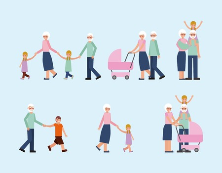 grandparents with grandson and granddaughter activities vector illustration Banque d'images - 112326729
