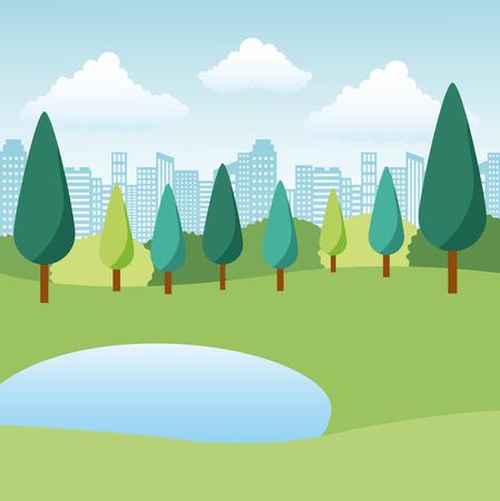natural park lake trees and city landscape vector illustration
