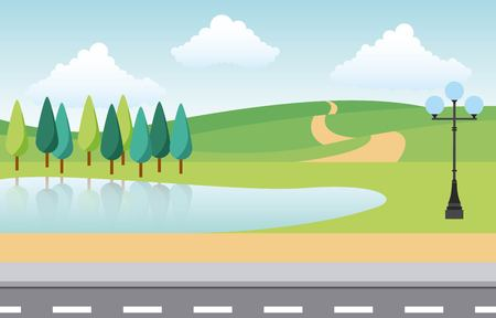 park city trees lake pathway lamp and street vector illustration