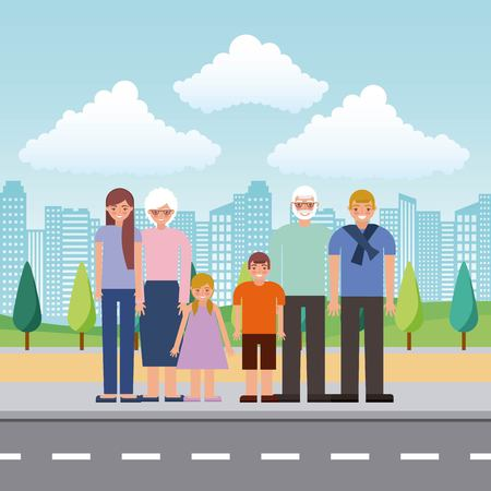 grandparents and parent with childrens standing in the street vector illustration 스톡 콘텐츠 - 112326742