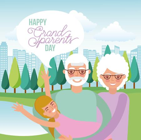 grandparents carrying a little girl in the park vector illustration Ilustrace
