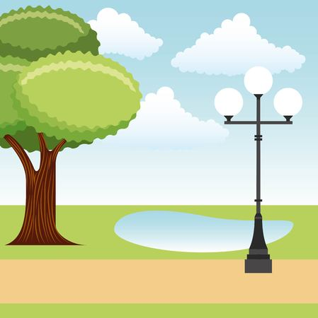 park tree lake and lamp post landscape vector illustration