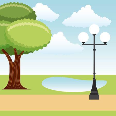 park tree lake and lamp post landscape vector illustration