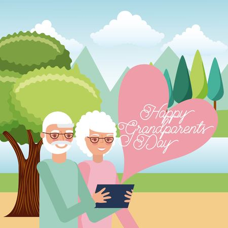 grandparents taking selfie with mobile in the park vector illustration