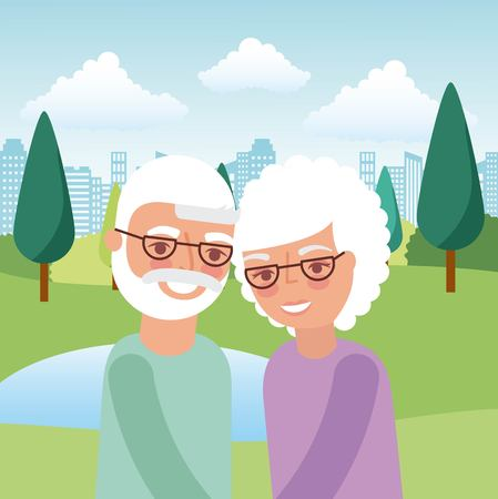 grandparents portrait characters in the park vector illustration