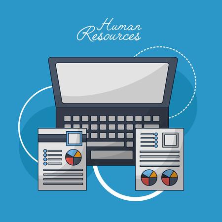 human resources computer resumen statistics vector illustration