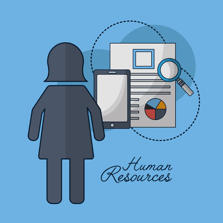 human resources female researching smartphone vector illustration
