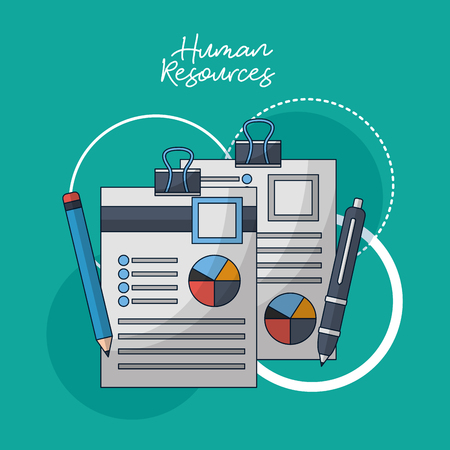 human resources resumen documents contract vector illustration