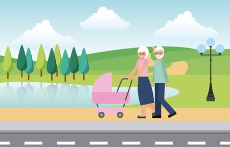 grandfather and grandmother with pram baby in the park city vector illustration