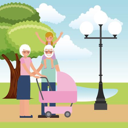 grandparents with graddaughter and baby pram vector illustration Ilustração