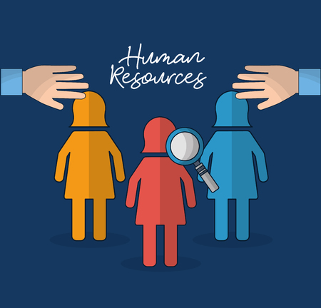 human resources search employed hands vector illustration