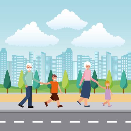 grandparents grandchildrens in the street city vector illustration Banque d'images - 112326755