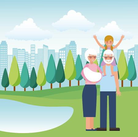 grandpa carrying girl and grandma with baby in the park vector illustration