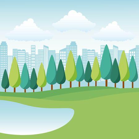 natuurpark meer bomen en stad landschap vectorillustratie