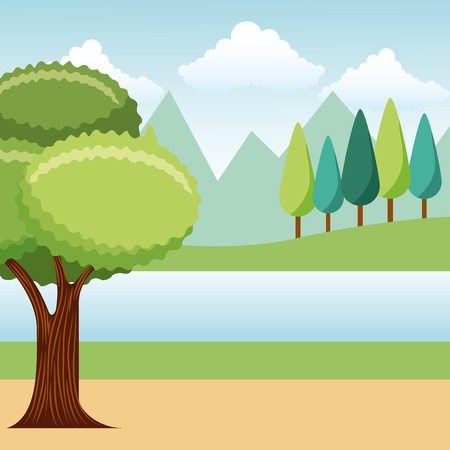 leafy tree pine trees mountains lake park landscape vector illustration Illusztráció