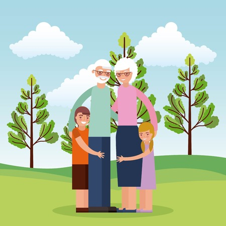 grandparents embrace with grandchildrens in the park