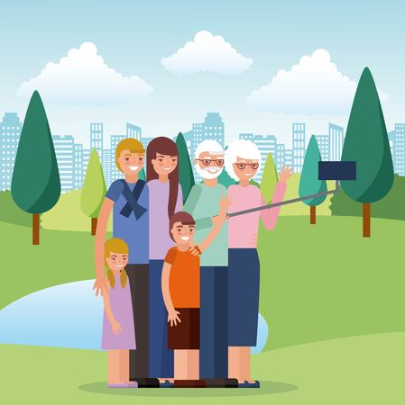 parents grandpa and grandma hugging vector illustration Stock Illustratie