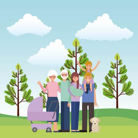 grandparents parents with daughter pram baby and dog vector illustration
