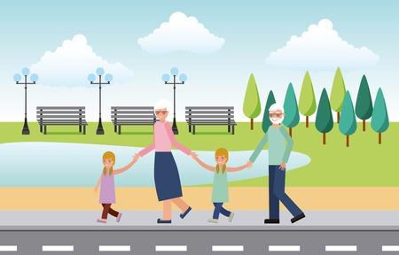 Großeltern mit Enkelkindern, die in der Straßenvektorillustration spazieren gehen