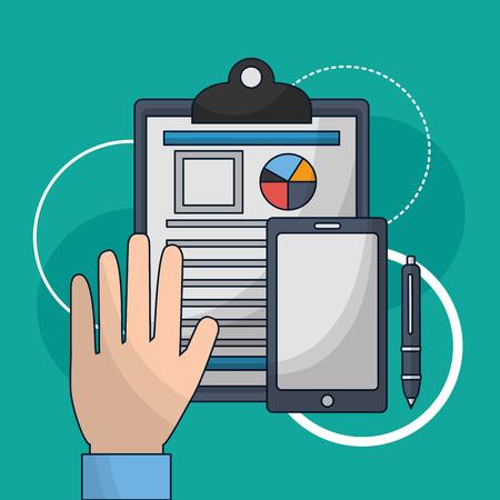human resources hand showing resumen smartphone pen vector illustration