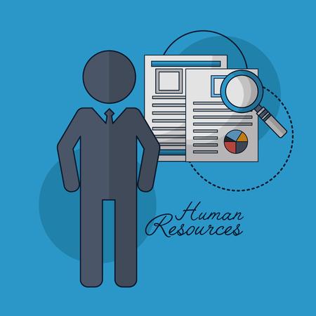 human resources male resumen magnifying glass vector illustration Illustration