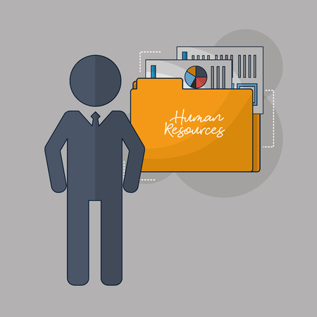 human resources male stand folder resumen statistics vector illustration Foto de archivo - 105686777
